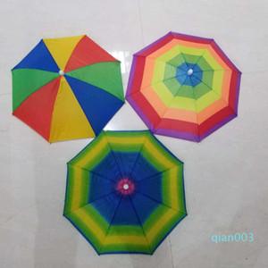 아기 헤드 캡 우산 어린이 재미 레인보우 인쇄 우산 야외 접이식 태양 우산 비치 모자 캡 헤드 모자 WY484Q을 전자