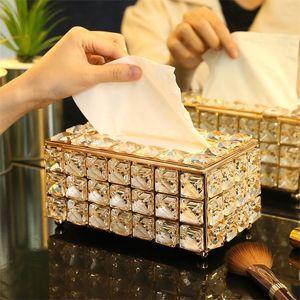 Strass Tissue Box Papierzahnstange Bürotisch Zubehör Gesichts Fall Halter Serviette Tablett für Home Hotel Car