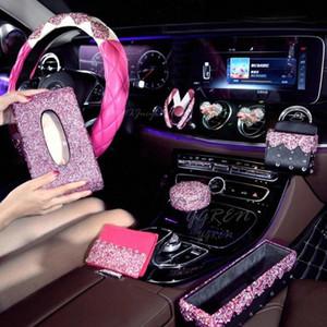 Direcção Rosa Série enfeites de cristal da roda de carro cobertura para meninas Car Acessórios Ladies Bling Rhinestone Set MtJC #