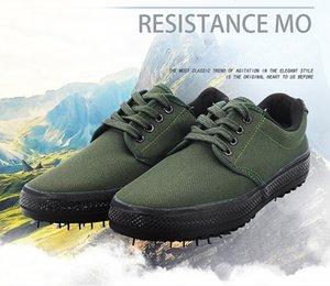 Liberación plana baja zapato militar caucho lienzo camuflaje seguro vulcanizado combate suela zapatos calzado militry u016 entrenamiento laboral DQEA