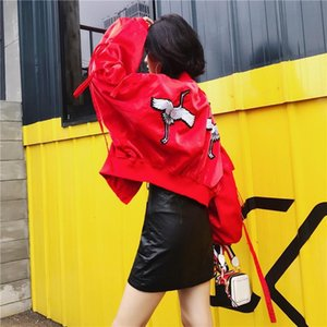 Embroidered Harajuku short coat 2020 spring and autumn new loose women's Korean cotton warm student jacket