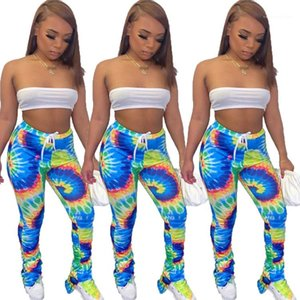 Stacked Sweatpants Street Style Mode Pantalons Flare Pantalons Femmes Sexy Summer Vêtements Tie Dyed femmes