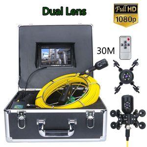 7 인치 30M 1080P HD 듀얼 카메라 렌즈 배수 하수 파이프 라인 산업 내시경 파이프 검사 비디오 카메라