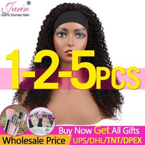 1-2-5pcs HeadBand Wig Human Hair Kinky Curly Wigs Malaysian Remy Hair Wig Machine Made For Women Bulk Sale Truth Length