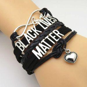 Drop Shipping Infinity nero di amore Lives Matter Wrap Bracciali Charms multistrato nero Pu Bracciale in pelle gioielli