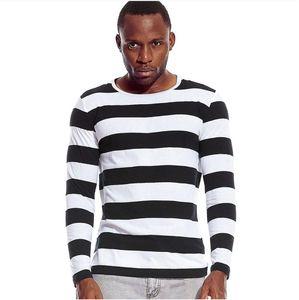 Camisetas de manga larga rayas camisetas para hombres hombres de cuello redondo a rayas libre del partido del traje casual Rojo Blanco Cos Cosplay de Halloween