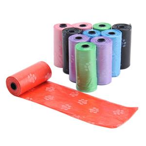 5/10 Rolls degradable del perro casero de residuos Poop bolsa con la impresión Bolso de perrito residuos de PET limpio Poop bolsas 4 colores