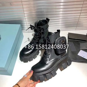 2020 New Autumn Winter Brand Bootie Pocket Buckle Strap Motorcycle Bota Shiny Leather Patchwork Hot New Arrival Boots Platform