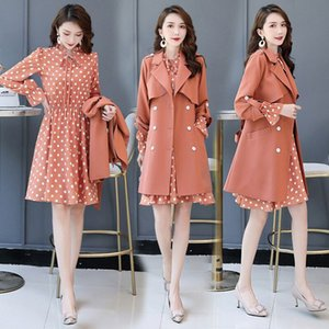 Dot Print Trench Coat Dress New Women's Early Autumn Temperament Two-piece Spring And Autumn Trench Coat Suit