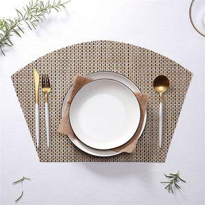 Fan Shaped Mat Tabela Isolamento térmico Pure Color Meal Mats Ocidental Restaurante Anti Skid impermeáveis Pads Novel 4 47xj L1