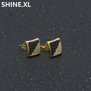 Hip Hop Accessories Twill Two-tone Plating Black and White with Micro-inlaid Zircon Earrings Men's Jewelry Wholesale