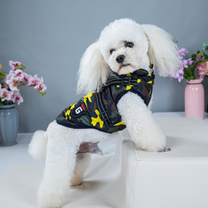 Pet Dog Jacket with Harness Camouflage Winter Warm Dog Clothes Puppy Padded Vest Costumes Sweater for Small Medium Dogs Cats Puppy Coats