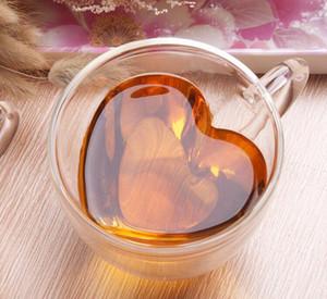 이중 벽 유리 커피 머그컵 투명 하트 모양의 밀크 티 컵 180ml 240ml 우유 차 컵 로맨틱 한 선물 KKA8003