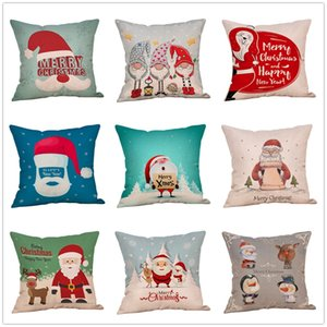 Christmas Cartoon Pillowcase 18*18 inch Santa Claus Pattern Lovely Pillow Cover Living Room Sofa Seat Decorative Cushion Covers VT1714