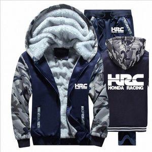 Hoodies Männer HRC Rennen Motorrad Auto-Logo Herren Pullover Anzug Winter verdicken warme Fleece Zipper Anzug Herren Jacke Hosen setzt FPFs #