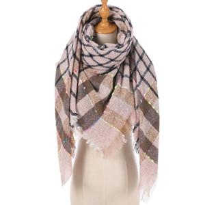 Women Plaid Scarf Lady Shawl Soft Warm Foulard Knitted Cashmere Poncho Blanket Warps Female Lattice Wool Scarves