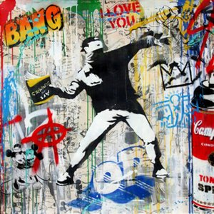 Mr Brainwash Banksy Flower Thrower 02 Home Decor Handcrafts  HD Print Oil Painting On Canvas Wall Art Canvas Pictures 200808
