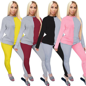 2020 hot sale women street casual style sets long sleeve round neck top elastic long pants stitching color two piece sets