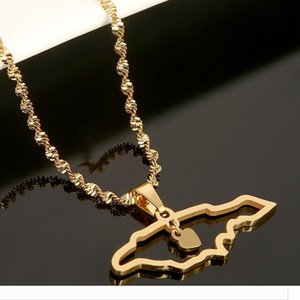 Designer Trendy Jamaica Map Pendant Necklaces Jewellery Gold Color Jewelry Jamaican Map Fla