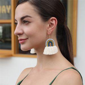 arco-íris Bohemian brincos borla tecer cadeia de borla dangle brincos chandelier manguito orelha de jóias moda feminina vontade e dom de areia