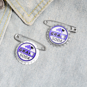 Criativo liga cap personalizado garrafa de refrigerante personalizado refrigerante de uva camisa tinta esmalte Bottle Cap pin badge pin badge