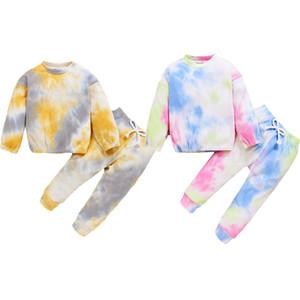Bebê Tie-dye Suit Autumn Boy Girl Pullover Inverno mangas compridas + Calças 1-6Y crianças elástico na cintura com nervuras Fechando roupa Primavera
