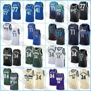 DallasMavericksJersey 77 Doncic Giannis 34 Antetokounmpo MilwaukeeBucksJersey Ray Allen 34 Luka Basketball Jersey