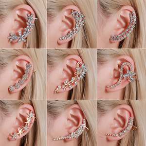 European and American earrings temperament full of diamonds butterfly flower single crystal ear clip Hipster catwalk nightclub earrings