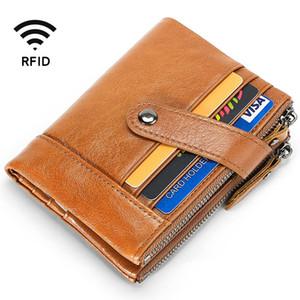Supporto della cassa di carta di identificazione RFID Protezione reale genuina di cuoio degli uomini di modo maschio Portafogli Zipper borsa della moneta di credito Banca di Qualità