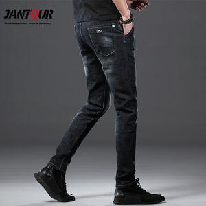 Jantour Marka Erkekler Jeans Slim Fit Skinny Denim Jeans erkek Tasarımcı Elastik Erkekler için düz siyah Jean Stretch Pantolon