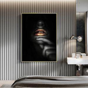 Altın Dudaklar Seksi Siyah Kadın Tuval Poster Boyama ve Baskılar Modern Duvar Sanatı Resimleri Cuadros Salon Dekorasyon