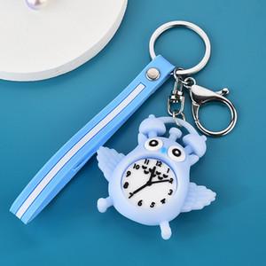 L'alta qualità del fumetto Auto portachiavi in gomma morbida Owl Alarm Clock Alarm Clock Portachiavi Ciondolo Student pendente del sacchetto