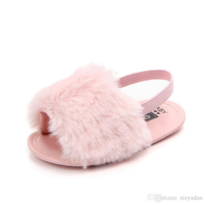 Baby Sandals Girl Summer Soft Faux Fur Anti-Slip Sole Newborn First Walker Infant Crib Shoes