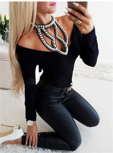 Top femminile sexy vestiti di autunno delle donne magliette di marca di colore solido perline stampati scava fuori Bandage Style