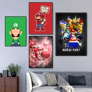 Ev Dekorasyonu Boyama Kanvas Poster Modern Duvar Sanatı Modüler Karikatür Anime Mario Komik Resim Yatak Arkaplan Çerçeve Yok