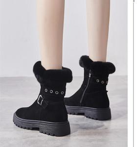 Snow Boots Women's Suede 2020 New Winter Plus Velvet Thick Casual Thick Bottom Side Zipper Women Warm Short Boots Black Khaki