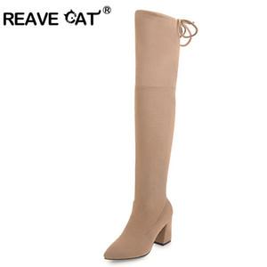 Reave CAT gamuza sintética delgada Botas mujer atractiva sobre la rodilla de tacón alto botas para la nieve de invierno la moda femenina de alta del muslo shoesA012