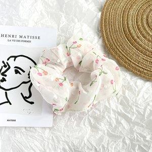 Neue Art Organza New Band Organza Blumendruck überdimensionaler großer Dickdarm Ring ins koreanischen Stil Französisch Pferdeschwanz Kirschhaarring ha