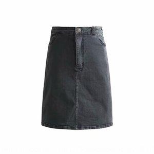 invierno coreano estilo denim One-Step WJ2002-18 alta alta cintura elástico delgado de la cadera denim recta de la falda de un solo paso