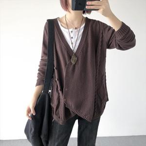 Korea irregular v neck Sweater Autumn Spring 2019 Women Thin Loose loose long sleeve knit cardigan Fashion sweater