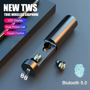 2020 NEW V5.0 Bluetooth Wireless Earphone Pull out 8D Stereo Earphones Sport ear buds Noise cancelling headphone with LED power