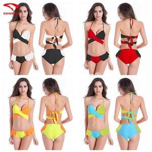 최고의 -Selling 유럽과 미국 색상 일치 벨트 라인, 수영복 비키니 수영복 비키니 온천 큰 가슴
