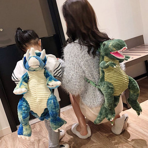 Yaratıcı 3D Dinozor Bebek Sırt Çantası sevimli hayvan Karikatür Peluş Oyuncak Seyahat Sırt Çantası Çocuk Tyrannosaurus Sırt Çantası Kızlar Yılbaşı Hediyeleri