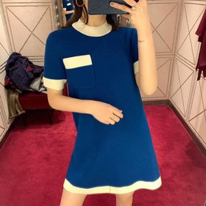 Spring New Song Zuer same style French style elegant orange pocket round neck short sleeve knitted dress for women DE4B