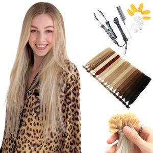 MRSHAIR queratina extensões de cabelo humano Bonded com KITS Dica Nail U Dica Extensões Cabelo Liso Cabelo Remy 16 20 24 Inch 1g / pc