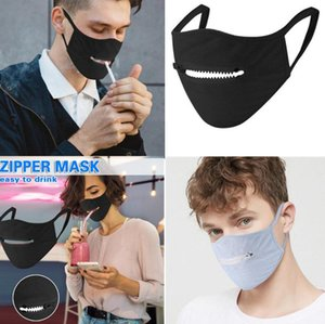 Fashion Zipper Mask Creative Zipper visage Zipper Conception facile à boire lavable réutilisable Couvrir les masques de protection DHL