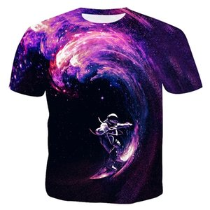 New Pattern Fashion Man Summer Thin Section T-shirt 3D Stray Starry Sky Man Leisure Time Short Sleeve T-shirt 0924