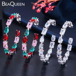 Pendientes del aro BeaQueen brillante multicolor de circonio cúbico redondo grande Mujeres Plaza Oval gota del agua del cristal de la CZ E408 joyería del oído