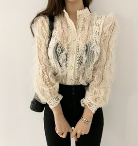 Alien Kitty New Arrival Ladies Lace Shirt Hook Flower Long Sleeve Loose Stand Collar Blouse Shirts Women Fashion Crochet Tops 200925