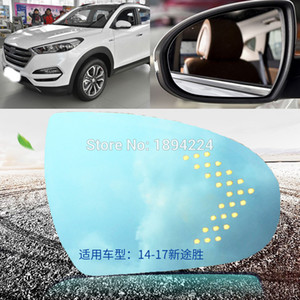 For Hyundai Tucson 2014-2017 Car Rearview Mirror Wide Angle Blue Mirror Arrow LED Turning Signal Lights